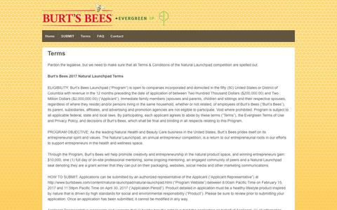 Screenshot of Terms Page evergreenip.com - Terms | Burt's Bees - captured March 13, 2017