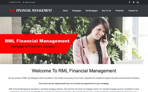 Screenshot of Home Page rmlfinancialmanagement.co.uk - Dumfries Mortgage Advice | RML Financial | Mortgage & Protection - captured Nov. 19, 2018