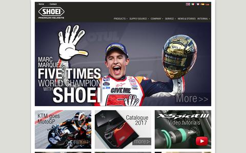 Screenshot of Home Page shoei-europe.com - SHOEI Europe - captured Nov. 26, 2016