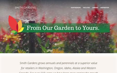 Screenshot of Home Page smithgardens.com - Smith Gardens | Our business is growing. - captured Aug. 12, 2015