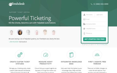 Screenshot of Landing Page freshdesk.com - Freshdesk Support Ticketing Software | Start supporting customers for FREE - captured Oct. 26, 2015