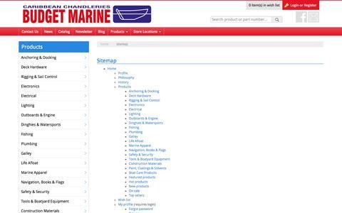 Screenshot of Site Map Page budgetmarine.com - Caribbean's Leading Chandlery - Budget Marine - captured Jan. 7, 2016