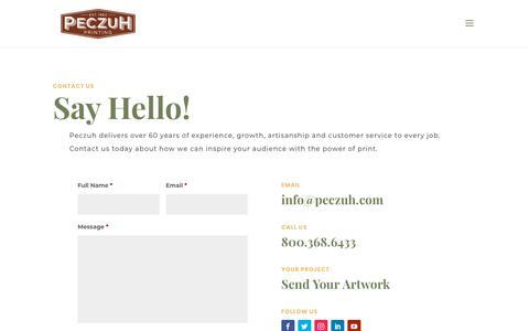 Screenshot of Contact Page Locations Page peczuh.com - Contact Peczuh - Peczuh Printing - captured July 7, 2018
