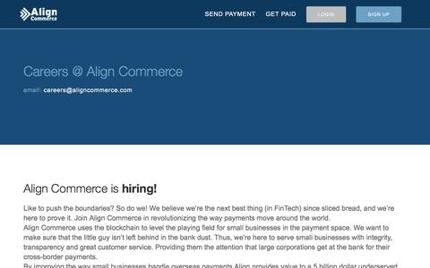 Screenshot of Jobs Page aligncommerce.com - Align Commerce - Careers - captured July 25, 2016
