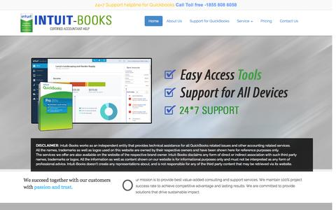 Screenshot of Home Page intuit-books.com - intuit-books    Toll free Number 1855 808 6058 - captured Jan. 30, 2015