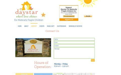 Screenshot of Contact Page daystarkids.org - Daystar Kids - Where Love Shines | CONTACT - captured Nov. 24, 2016