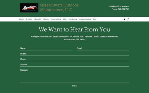 Screenshot of Contact Page speedcutters.com - Contact Us | Speedcutters Outdoor Maintenance - captured Nov. 14, 2017