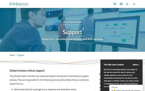 Screenshot of Support Page infradata.nl - Infradata says… - captured Dec. 10, 2018