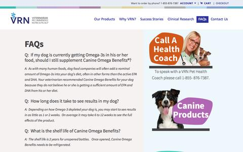 Screenshot of FAQ Page vrnhealth.com - FAQs - VRN Veterinarian Recommended Nutriceuticals - captured Oct. 7, 2014