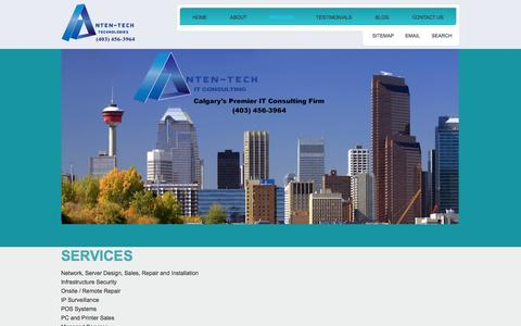 Screenshot of Services Page anten-tech.com - Calgary IT company.  Services | Calgary IT company. - captured Oct. 4, 2014