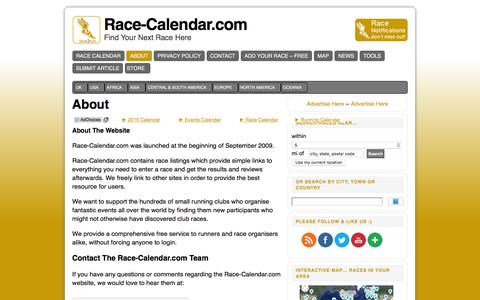 Screenshot of About Page race-calendar.com - Free Directory and Calendar for Running Events and Marathons - captured Feb. 21, 2016