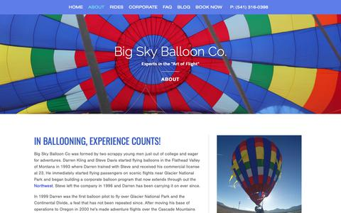 Screenshot of About Page bigskyballoonco.com - About the Big Sky Balloon Co. | Central Oregon - captured Oct. 5, 2018