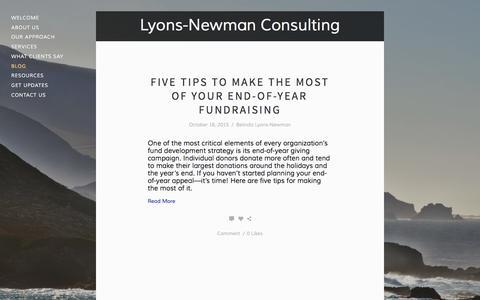 Screenshot of Blog lyonsnewman.com - Blog — Lyons-Newman Consulting - captured Feb. 2, 2016