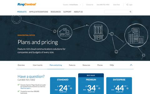 Screenshot of Trial Page ringcentral.com - Plans and Pricing | RingCentral Office - captured Dec. 1, 2015