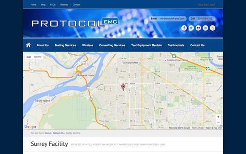 Screenshot of Maps & Directions Page protocol-emc.com - Surrey Facility | Protocol EMC - captured July 19, 2016