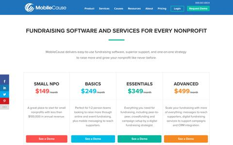 Screenshot of Pricing Page mobilecause.com - Fundraising Software Pricing | MobileCause - captured Nov. 7, 2019