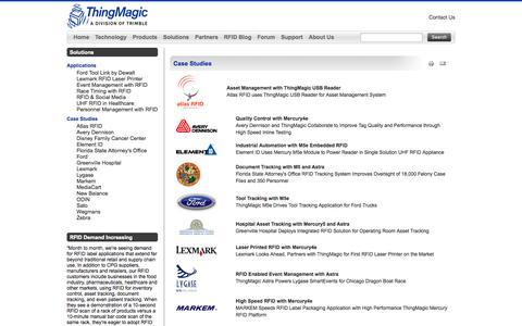 Screenshot of Case Studies Page thingmagic.com - Case Studies - captured Sept. 17, 2014