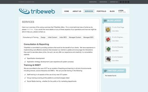 Screenshot of Services Page tribeweb.co.uk - Services - Showcase - TribeWeb - captured March 3, 2016