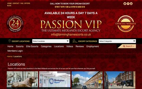 Screenshot of Locations Page birminghamescorts.co.uk - Passion VIP | Locations - captured Sept. 27, 2018