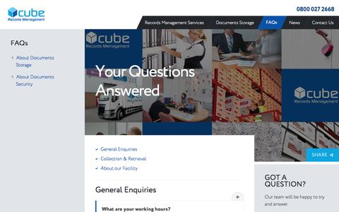 Screenshot of FAQ Page cuberms.com - Frequently asked questions about Cube Records Management Services - captured Sept. 14, 2017