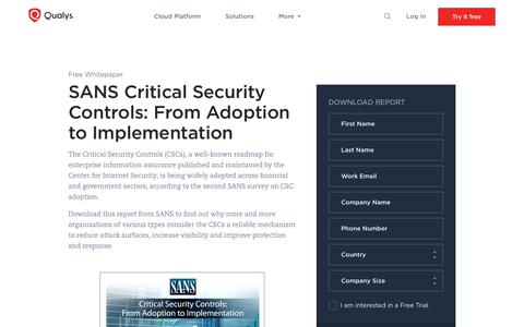 Critical Security Controls: From Adoption to Implementation Whitepaper | Qualys, Inc.