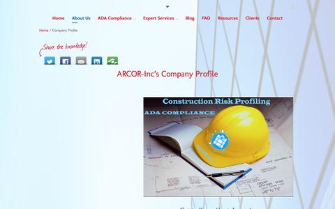 Screenshot of About Page arcor-inc.com - ARCOR-Inc. Company Profile - captured Sept. 30, 2014