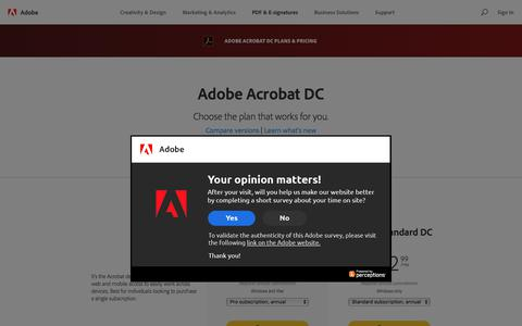 Screenshot of Pricing Page adobe.com - Plans and pricing | Adobe  Acrobat DC - captured April 20, 2018