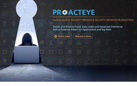 Screenshot of Home Page proacteye.com - Cloud Access Security Broker & Securtiy Behaviour Analytics Proacteye - captured June 8, 2016