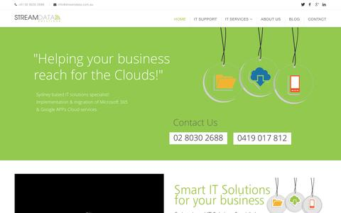 Screenshot of Home Page streamdata.com.au - IT Support Sydney | Managed IT Services | Business Solutions - captured Feb. 25, 2016