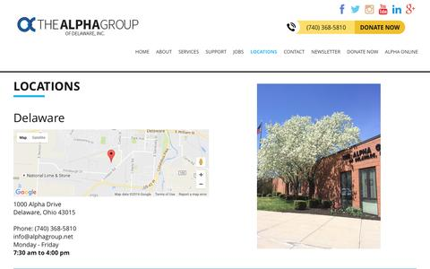 Screenshot of Locations Page alphagroup.net - Helping People with Disabilities Succeed - Alpha Group of Delaware Inc. - captured Dec. 3, 2016