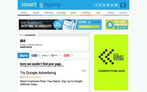 Screenshot of Site Map Page smartcompany.com.au - 404 - captured Sept. 18, 2014
