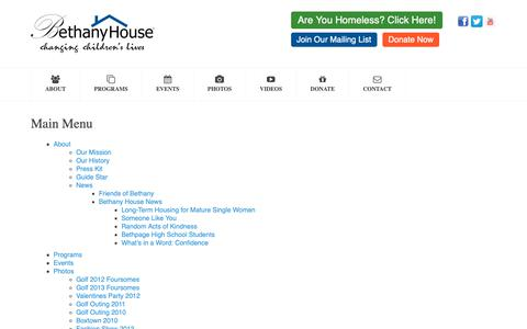 Screenshot of Site Map Page bhny.org - Bethany House - Bethany House - captured Oct. 5, 2018