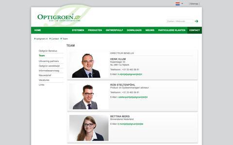 Screenshot of Team Page optigroen.nl - Team - DAKBEGROEIING en DAKTUINEN van Optigrün (TIP) - captured Oct. 19, 2018