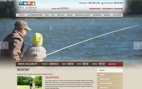 Screenshot of About Page 4seasonsresort.com - Lake of the Ozarks Hotels | Lodge of Four Seasons | MO - captured Oct. 6, 2014