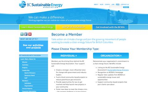 Screenshot of Signup Page bcsea.org - Become a Member | BC Sustainable Energy Association - captured Oct. 4, 2014