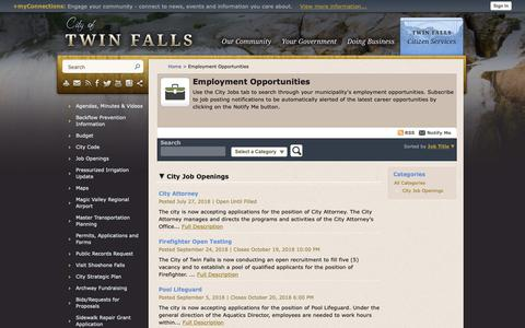 Screenshot of Jobs Page tfid.org - Twin Falls, ID - Official Website - captured Sept. 28, 2018