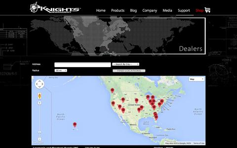 Screenshot of Support Page knightarmco.com - Dealers - captured Sept. 19, 2014