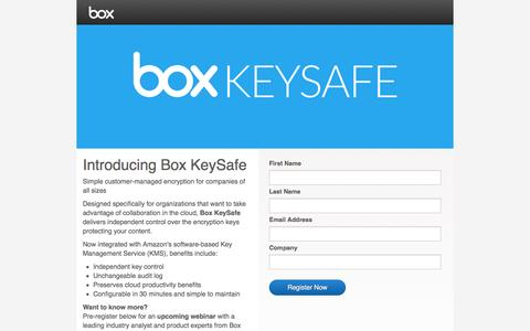 Screenshot of Landing Page box.com - Box KeySafe - captured March 23, 2016