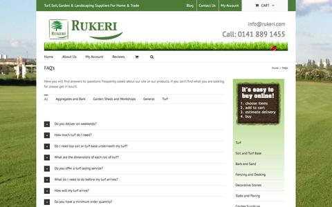 Screenshot of FAQ Page rukeri.com - FAQ's for buying turf and landscaping products online from Rukeri - captured Jan. 11, 2016