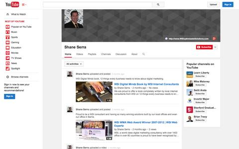 Screenshot of YouTube Page youtube.com - Shane Serra  - YouTube - captured Nov. 3, 2014