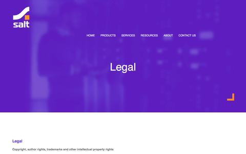 Screenshot of Terms Page saltgroup.com.au - Legal - Salt Group | IT Security - captured July 27, 2018