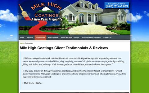 Screenshot of Testimonials Page milehighcoatings.com - Mile High Coatings Fort Collins House Painting - captured Oct. 7, 2014