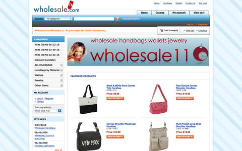 Screenshot of Home Page wholesalehandbags11.com - Wholesale Handbags 11 - captured July 9, 2018