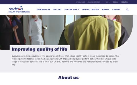 Screenshot of About Page sodexo.com - About Us - captured March 8, 2019