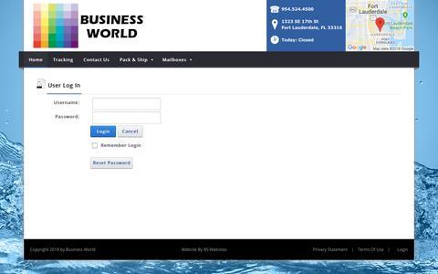 Screenshot of Login Page businessworldflorida.com - User Log In - captured Oct. 7, 2018