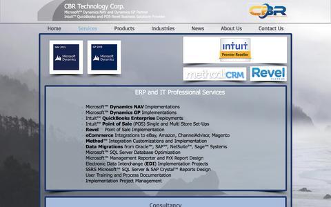 Screenshot of Services Page cbrtechnology.com - CBR Technology - Services - captured Oct. 3, 2016