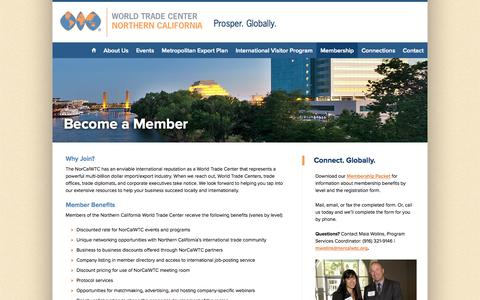 Screenshot of Signup Page norcalwtc.org - Become a Member | Nor Cal World Trade Center - captured Oct. 26, 2014