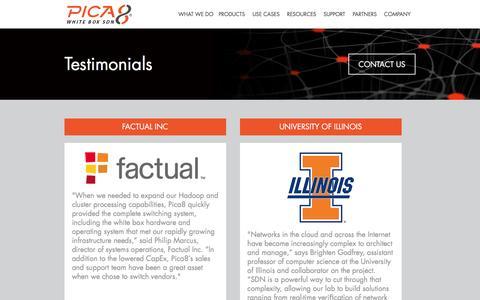 Screenshot of Testimonials Page pica8.com - Pica8   �  Testimonials - captured Dec. 4, 2015