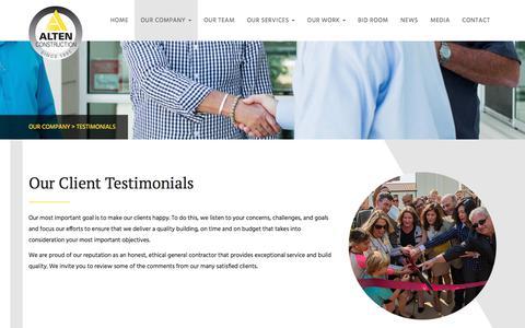 Screenshot of Testimonials Page altenconstruction.com - Customer Testimonials | Alten Construction - captured July 29, 2018
