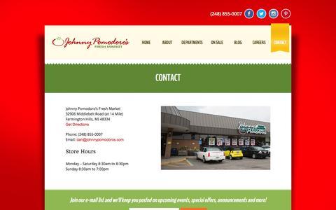 Screenshot of Contact Page johnnypomodoros.com - Contact   Johnny Pomodoro's Fresh MarketJohnny Pomodoro's Fresh Market - captured Nov. 3, 2014